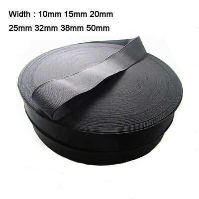 Black Stretch Flat Elastic Waist Band Strong Woven Sewing Dressmaking 10mm-50mm