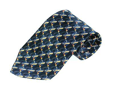 Mens Silk Neck Tie By Countess Mara Hand Made In Italy Black Blue Gold Necktie