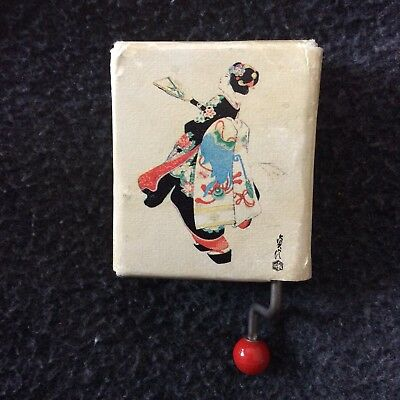 Vintage Hand-Crank Music Box Japanese Maiko Girl Illustration