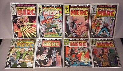 Mark Hazzard Merc 8 Comic Books #1 thru #9 Marvel Comics New Universe 1986 VF/NM
