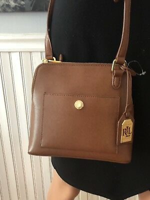 99c5115867 NWT Ralph Lauren Women s Newbury Bailey Dome Crossbody Tan Brown Handbag   128
