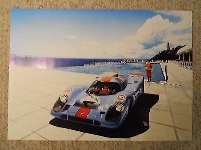 1970 Porsche Gulf 917 Showroom Advertising Sales Poster RARE!! Awesome L@@K