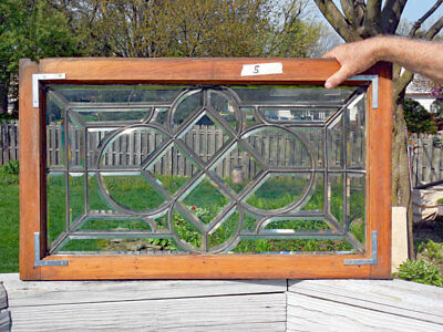 Antique  BEVELED  (LEADED, STAINED ) GLASS WINDOW   #5   ONE OF PAIR