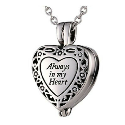 Memorial Locket Necklace Always in My Heart Memory Ash Urn Cremation Jewelry