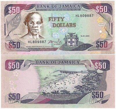 Jamaica 50 Dollars, 2002 P.83b UNC Uncirculated