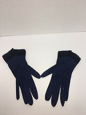 Vintage Black Blue Nylon Women's Ladies Evening Gloves Size 8