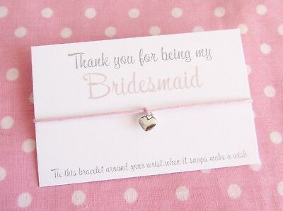 Thank You For Being My Bridesmaid Maid Honour Flower Girl ~ Wish Bracelet Gift