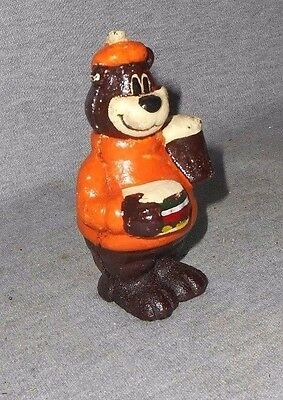 A&W ROOT BEER BEAR W BURGER CAST IRON DIME COIN SAVING CHILD'S SAVINGS BANK BN r