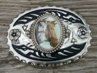 Vintage Nickel Silver Belt Buckle 2 Horse Faces Western with Flowers
