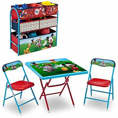 Disney Mickey Mouse Kids Table And 2 Chairs Multi-Bin Toy Organizer Playroom Set
