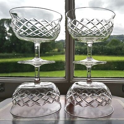 Set of Four 4 Cut Glass Footed Dessert Bowls Sundae Dishes Stuart Crystal Beau?