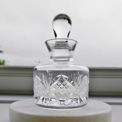 STUART Lead Crystal Small Round Cut Glass Scent Perfume Bottle with Stopper
