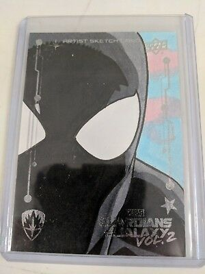 2017 Upper Deck Guardians of the Galaxy Vol.2 Black Spiderman Sketch Card 1 of 1