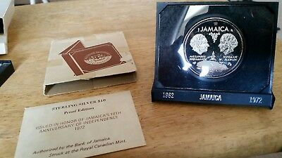 1972 Jamaica Proof Ten Dollars Sterling Silver coin! 10th Anniv. of Independence