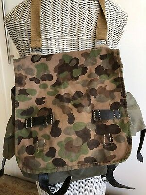Vintge CAMO Austrian Army Military Camouflage Canvas & Leather Bag Field scoffs