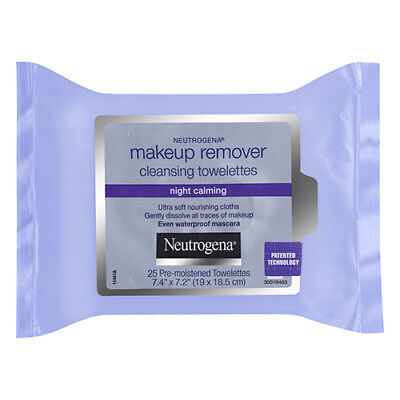 NEW Neutrogena Face Wipes Pack Pk 25 Make-Up Remover Wipes Night Calming
