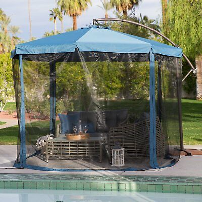 Garden Patio Umbrella With Detachable Netting Sun Protection Shade 11 Ft  Offset