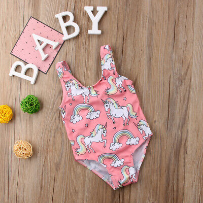 Summer 2018 One Piece Pink Unicorn Romper Swimsuit for Baby Girl 12-18 Months