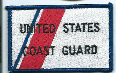 US Coast Guard patch small. 2-1/4 X 3-3/8 inch white background red stripe