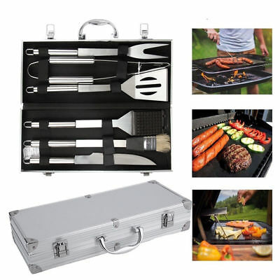 Stainless Steel BBQ Tools Set Kit Grill Cookware Utensils With Aluminum Case US