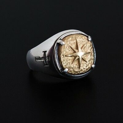 Men's Cool Cross Pole Star Pattern Mysterious  Finger Ring Size 7-11 Selected