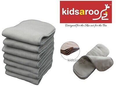 Reusable Cloth Nappy Inserts - 7 x Charcoal Bamboo - 5 Layers & EXTRA WIDE 15cm