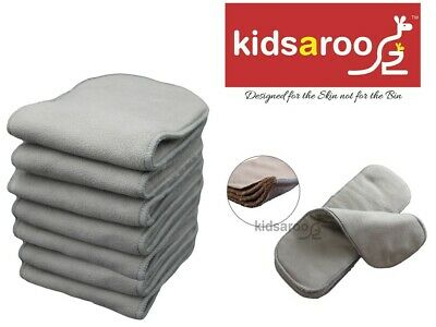 Reusable Modern Cloth Nappy Inserts -8 x Charcoal Bamboo -10 x Microfibre - Bulk
