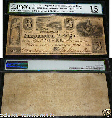 1840 Niagara Suspension Bridge Bank $3 . PMG 15 (CHOICE FINE)