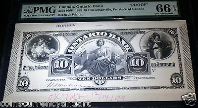 Canada,ontario Bank 1888 $10 . Pmg Graded Gem Unc 66 Epq .proof For Approval