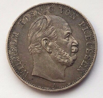 1871 A German States Prussia Silver Thaler  Ruler Wilhelm I Coin Free Shipping