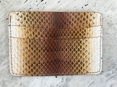 NEW $177 Genuine Phyton Leather Front Pocket Card Case ID Holder Wallet Gold