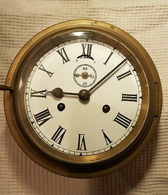 Lovely Original Antique Old Brass Ships Clock 7.5 inch Case no Visible Markings