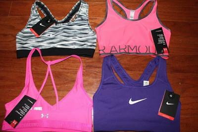 Lot 4 Nike Under Armour Womens Sports Bras Low-Impact Mid-Impact Pro Classic Xs
