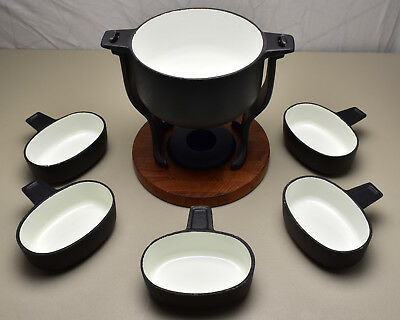 Vintage Digsmed Teak Wood & White Enameled Cast Iron Fondue Set Denmark (T209)
