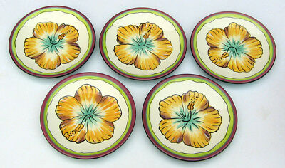 """Clay Art HIBISCUS Lot of 5 YELLOW 6.5"""" Canape/Snack Dessert Plates Hand Painted"""