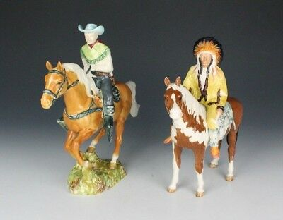 Beswick Candian Cowboy and Native American Indian