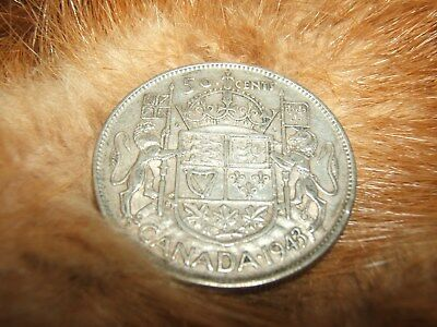 1943 ND fifty cent pc., silver...free ship for Canada...low ship for USA!!