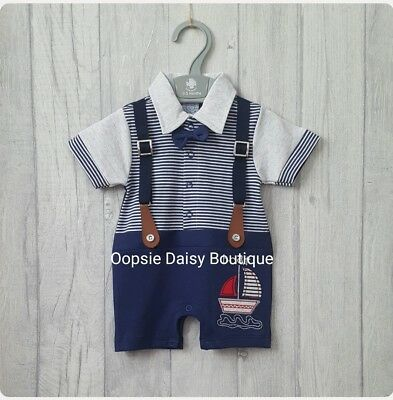 Baby Boys Cute Navy Blue Braces Romper Dickie Bow All In One ☆