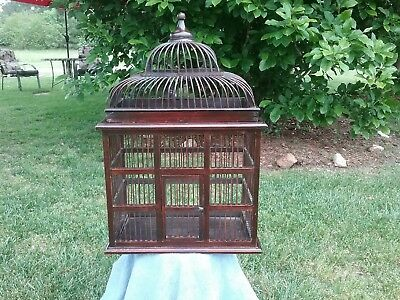 Large Antique Wooden Bird Cage Early 20th Century