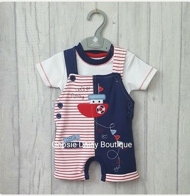 SALE Baby Boys Navy Blue & Red Dungarees & T-Shirt Set - 3mth - 18mths ☆