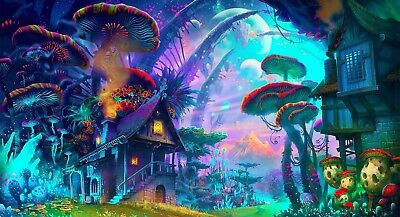 Psychedelic Mushroom Trippy Art MJ LSD Colorful Silk Canvas Poster 32x24""