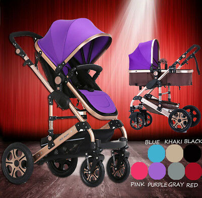 Purple Baby Stroller 8 in 1 High View Pram With Bassinet Folding Baby Carriage