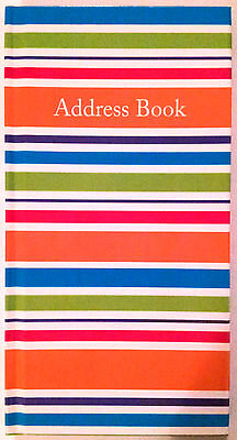 NEW Hardcover Address Book Stripes FREE Postage