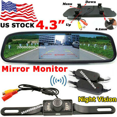 """Wireless 4.3"""" TFT LCD Mirror Monitor +License Plate 7LED Backup Rear View Camera"""