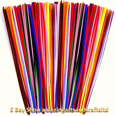 "Pipe Cleaners 30cm 12"" long 10 Colour assortment 50 100 200 300 500 800 1000"