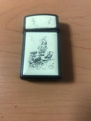 ZIPPO Scrimshaw Style Whale, Whale Hunters & Tall Ship Slim Lighter GII-1986