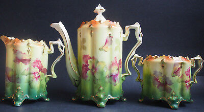 Set Antique Art Deco Hand Painted Pansy Footed Chocolate Pot 4 pcs~Pickard Like