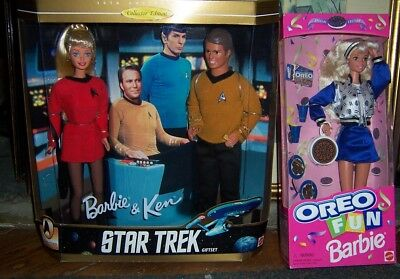 Barbie And Ken Star Trek collectors edition and Oreo cookie Barbie mib lot