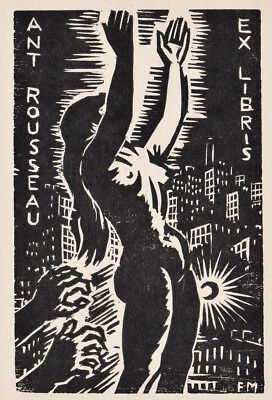 Frans MASEREEL Weibl. Akt Exlibris Rousseau Erotic Nude 1959 Small Version