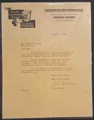 Vintage Commercial Letter / Armour & Company / Chicago Ill / 1940